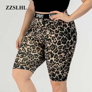 Sexy estampado de leopardo Leggings cortos de las mujeres de talla grande elástico corto Pantalones deportivos para entrenar arriba Legging mujer ribete pantalón de gimnasia