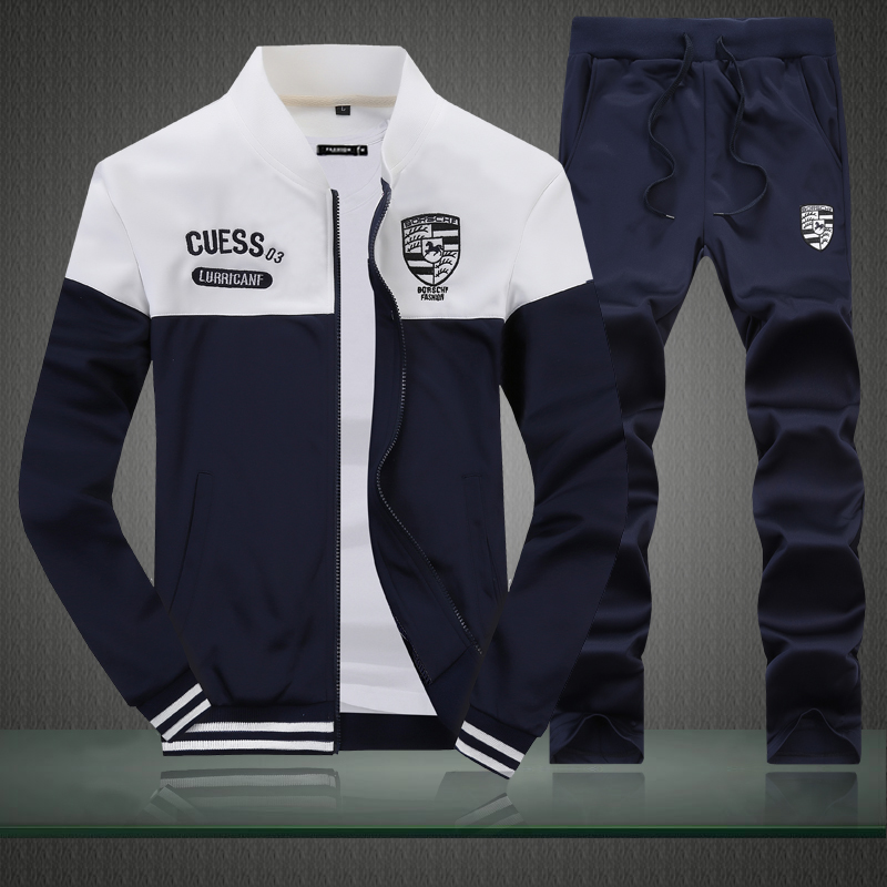 Men's Color Matching Sweatshirt Suit, Youth Fashion Stand Collar Casual Sports Running Suit Two Sets S-4XL