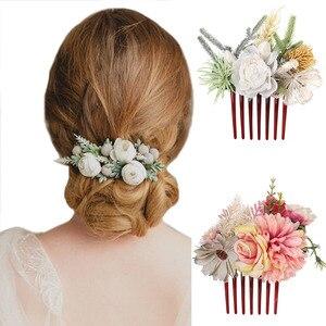 Haimeikang ślubne grzebienie do włosów na ślubne szpilki do włosów 2020 nowe kwiatowe korony kwiatowe akcesoria do włosów spinki do włosów damskie nakrycia głowy