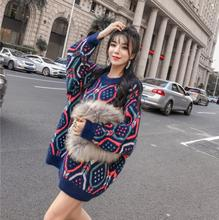 turtleneck knitted sweater Autumn new Korean version of the retro diamond lattice checkered loose lazy bat sleeve