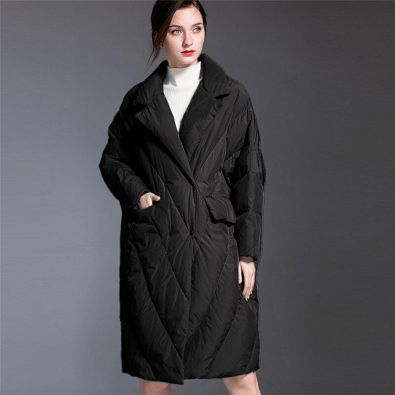 Haute qualité mode doudoune femmes Long coréen 2019 hiver nouvelle marée lâche épais Doen manteau grande taille vêtements d'extérieur décontractés W187