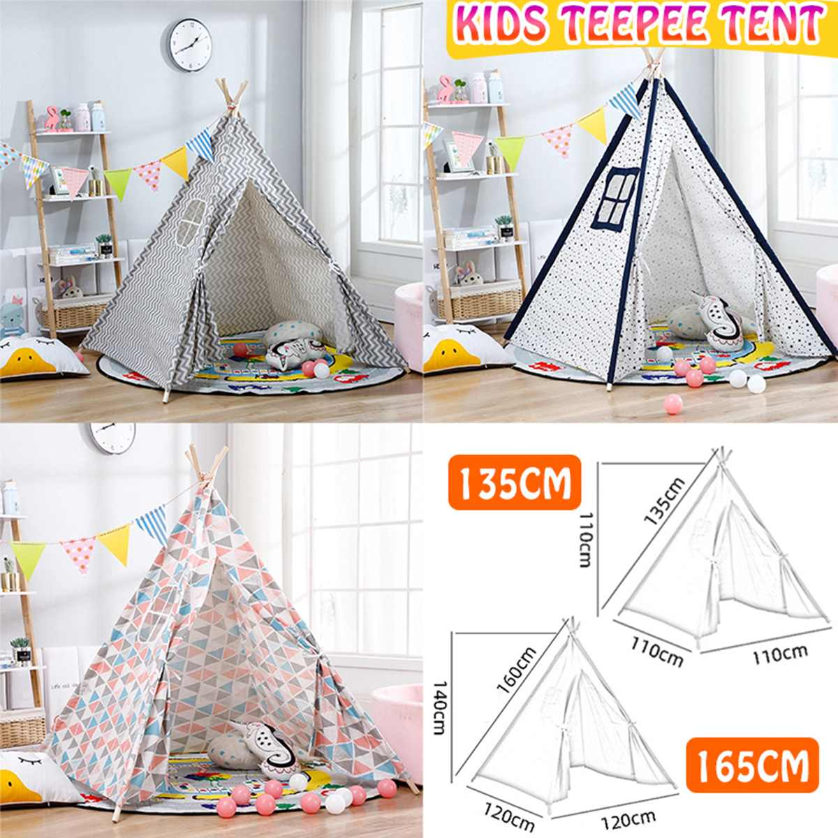 1.35/1.65m Portable Children's Tents Play House Kids Cotton Canvas Indian Play Tent Wigwam Child Little Teepee Room Decoration