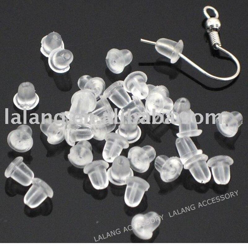 1000 шт./лот Оптовая Продажа Модные прозрачные резиновые задние фиксаторы для серег 5*5 мм 160027