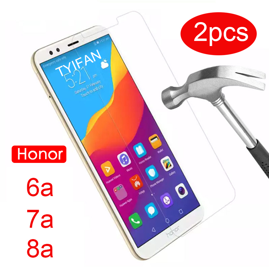 2pcs Tempered Glass Case on Honor 8a 7a Pro 6a Protective Glass for Huawei Honer 8 7 6 A A8 A7 A6 Glas Screen Protector Phone 9h(China)