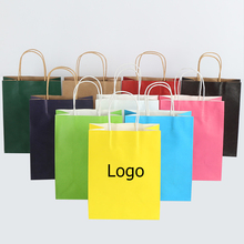 wholesale wedding party gift kraft paper bags Festival paper gift packing bag with handles Print custom logo fee not included