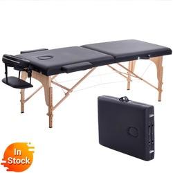 Lipat Kecantikan Tempat Tidur 180 Cm Panjang 60 Cm Lebar Portabel Profesional Spa Pijat Meja Lipat dengan Tas Salon Furniture Kayu