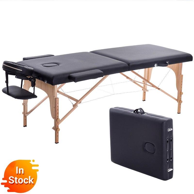 Składane łóżko kosmetyczne 180cm długość 60cm szerokość profesjonalne przenośne stoły do masażu Spa składane z torbą meble do salonu drewniane