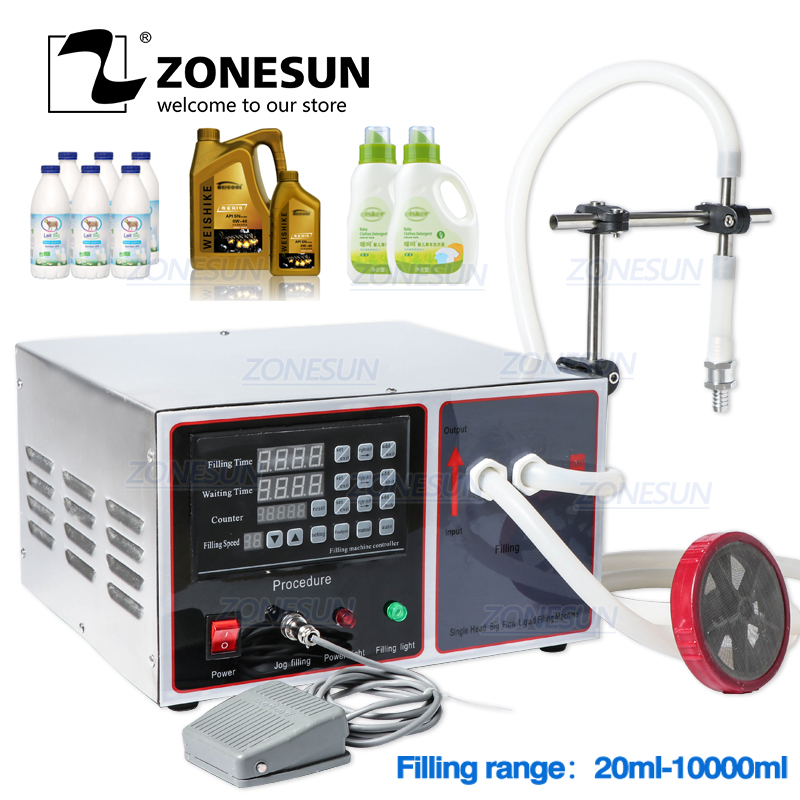 ZONESUN GZ-GFK17A Semi Automatic Filling Machine For Hand Sanitizer Laundry Cooking Oil Milk Liquid Bottle Filling Machine
