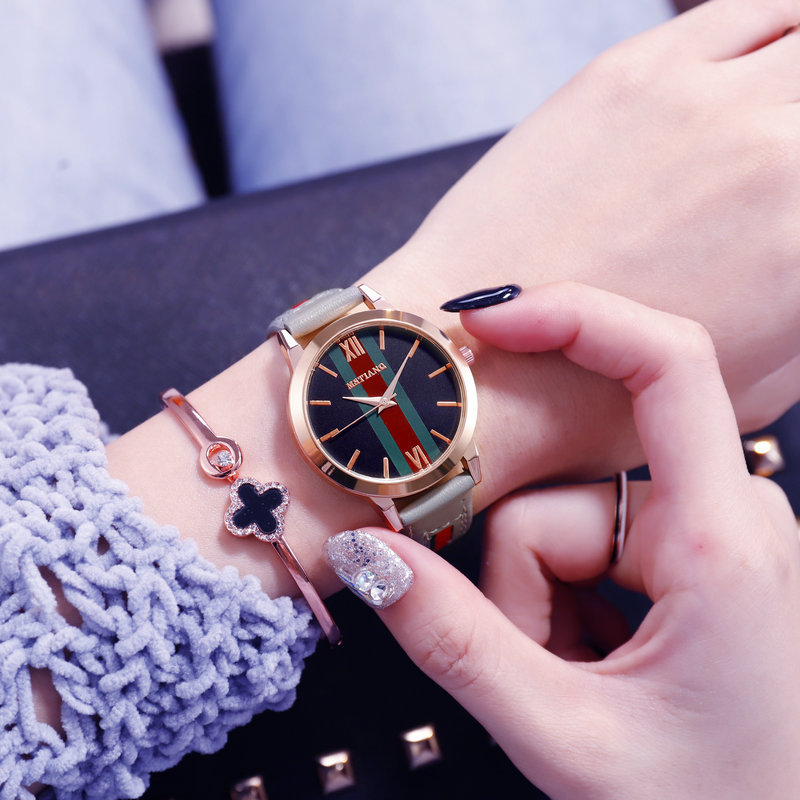 2020 New Simple Fashion Ladies Watch Tri-color Dial Ladies Quartz Watches Multi-color Strap Ladies Watches Women Brand Watches