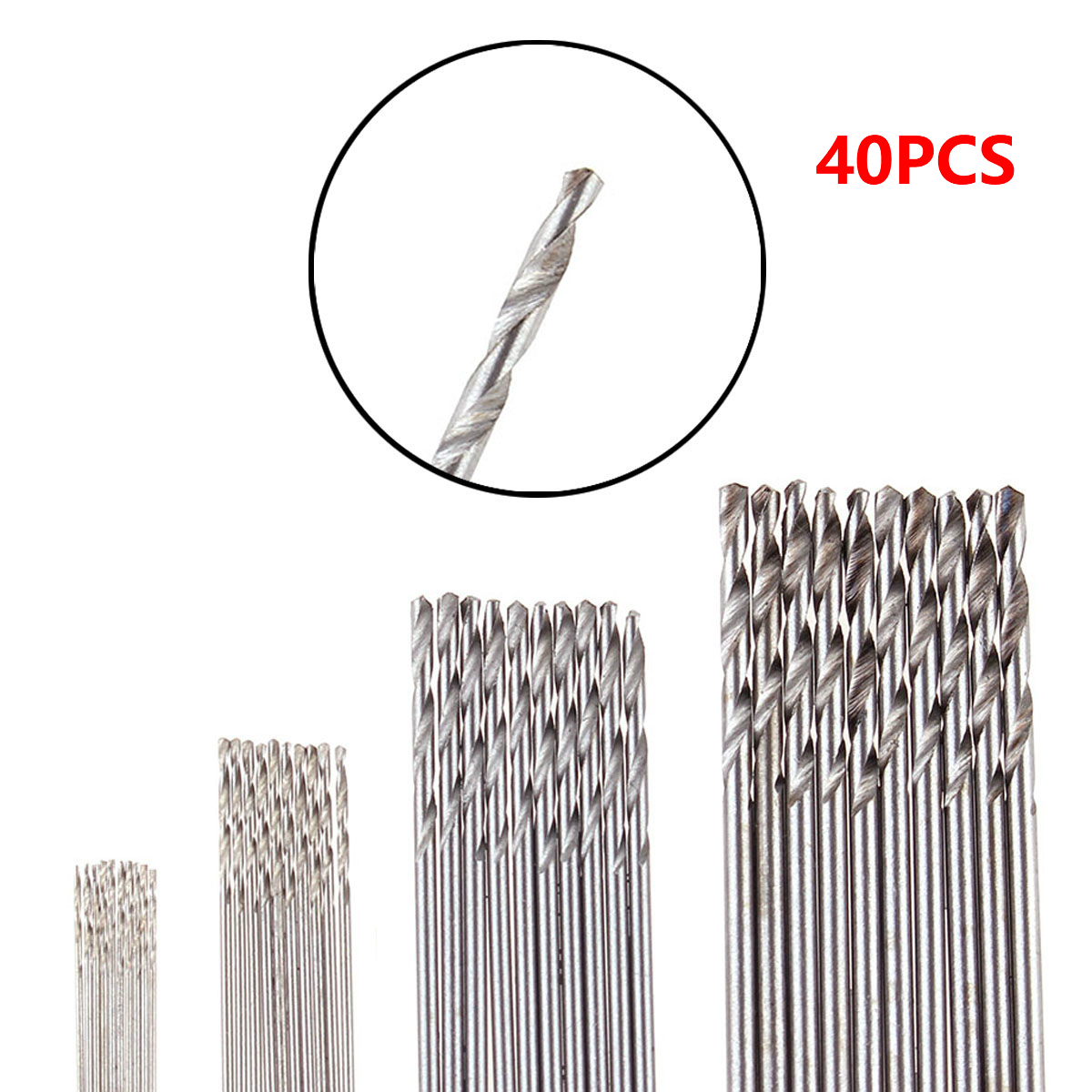 40Pcs/Set 0.5mm 0.8mm 1.5mm 2.0mm HSS Mini Drill Twist Drill Bits Set For Woodworking Plastic And Aluminum