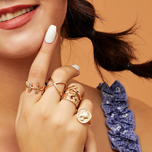 RE Bohemian 8pcs/sets Vintage Gold Color Rings Metal Charm Fashion Rings Women Jewelry Ring Set Party Weeding  Gifts Accessories re bohemian 8pcs sets vintage gold color rings metal charm fashion rings women jewelry ring set party weeding gifts accessories