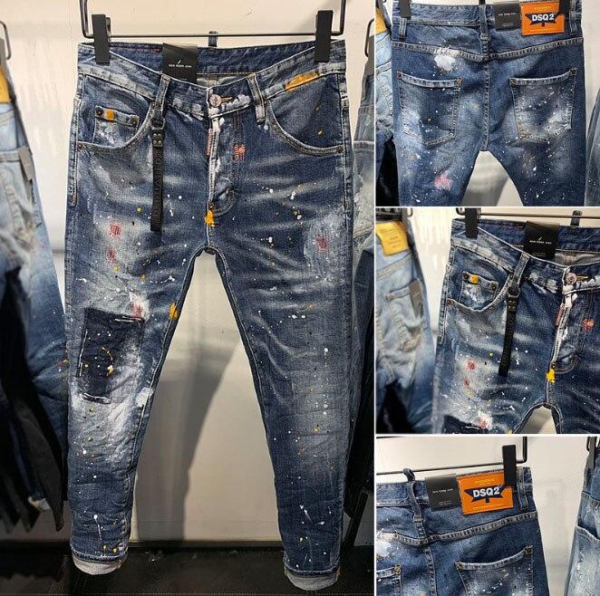 European American Famous Brand Italy Jeans Pants Men Slim Jeans Denim Trousers Button Blue Hole Pencil Pants Jeans For Men 905