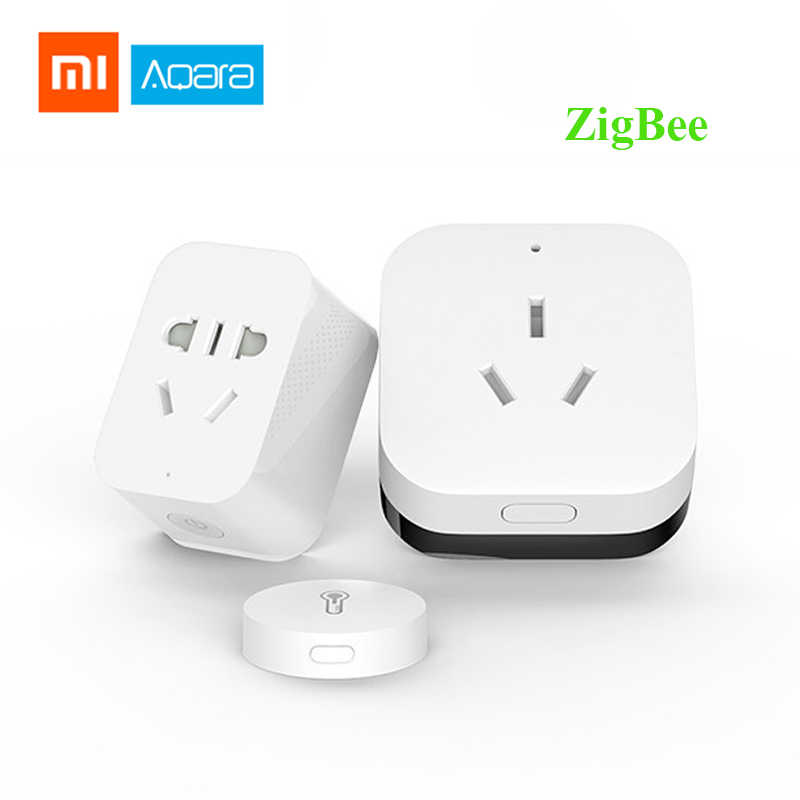 New Xiaomi Aqara Smart Home Automation Kits Air Condition Partner Gateway Zigbee Wifi Smart Socket Temperature Humidity Sensor