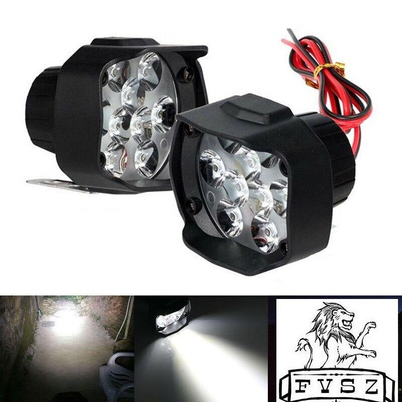 2Pcs Motorcycle Headlight White Super Bright 9 LED 6500k Working Spot Light Motorbike Fog Lamp 1800LM LED Scooters Spotlight