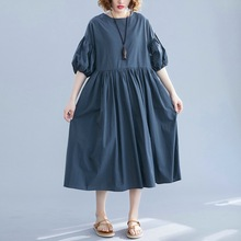 Johnature 2020 New Casual Lantern Sleeve A-Line Solid Color Women Dress