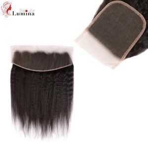 4*4 кружевная застежка 13*4, фронтальная кружевная прямая застежка Yaki, фронтальная курчавая прямая 100% Реми искусственная кожа, Детские волосы