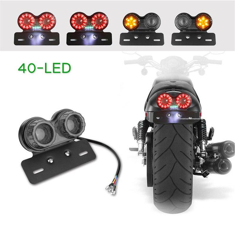 Universal Twin Dual Motorbike Taillight Rear Lamp LED Motorcycle Tail Turn Signal Light Brake Licence Plate Holder Light