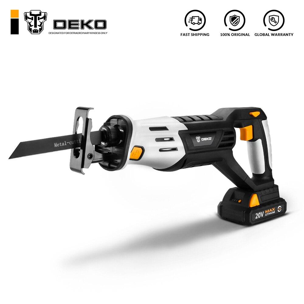 DEKO 20V Беспроводная сабельная пила Регулируемая скорость с батареей и 4 лезвиями электроинструментов лобзик электрический