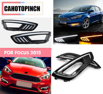 For Ford Focus 3 mk3 2015 2016 2017 12V LED Car DRL daytime running light with fog lamp hole with turn signal style relay - DISCOUNT ITEM  35 OFF Automobiles & Motorcycles