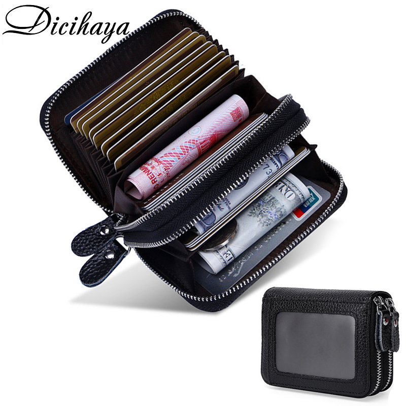 DICIHAYA Women Business Card Holder Cow Leather Card Wallet Prevent RFID Female Credit Card Holder Red Blue Black Double Zipper