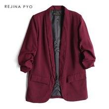 BIAORUINA Women Fashion Solid Open Stitch Blazer Coat Three Quarter Sleeve Office Lady Casual Straight Blazer Notched Collar