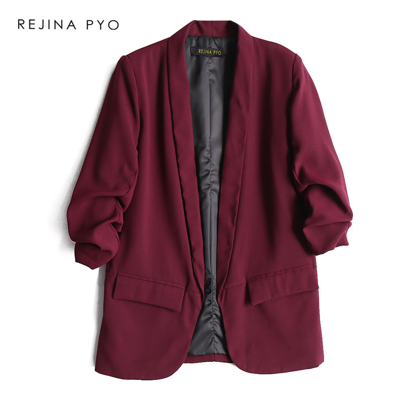 REJINAPYO Women Fashion Solid Open Stitch Blazer Coat Three Quarter Sleeve Office Lady Casual Straight Blazer Notched Collar