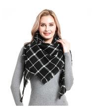 Кашемировый двухсторонний клетчатый шарф seven треугольный связующий