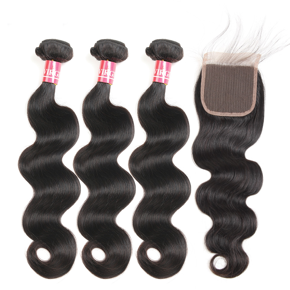 Body Wave Hair Bundles With Closure Brazilian Hair Weave Human Hair 3 Bundles With 4x4 Lace Closure Mellow Remy Hair Extension