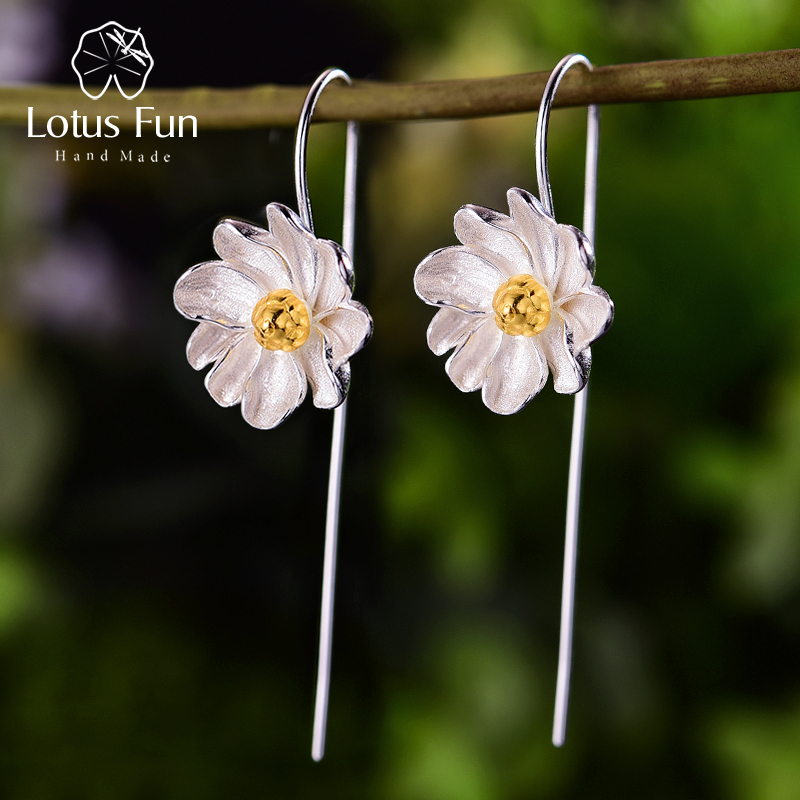 Lotus Fun 18K Gold Jasmine Flower Dangle Earrings Real 925 Sterling Silver Handmade Designer Fine Jewelry Earrings For Women