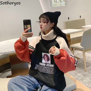 Image 2 - Hoodies Women Turtleneck Thicker Plus Velvet Warm Harajuku Printed Pullovers Womens Oversize Patchwork Leisure Chic Sweatshirts