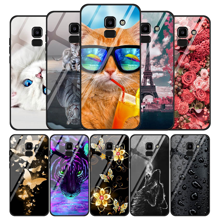 Tempered Glass Phone Case For Samsung Galaxy J2 Core J3 J4 J5 J6 J7 Pro Prime 2018 2017 2016 Soft Bumper Hard Back Cover Coques image