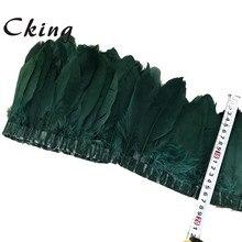 2020 novo verde escuro tingido penas de pato de ganso franjas 2-10 quintal/lote natural real gansos penas guarnição roupas jóias fita de costura