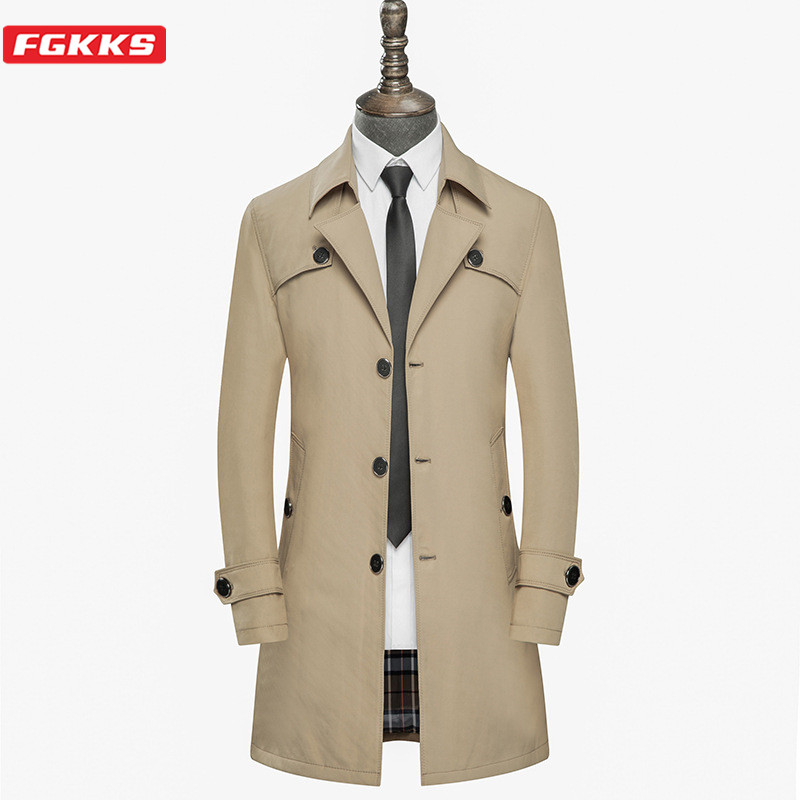 FGKKS Men Trench Coats Autumn Solid Color Men Korean Version Warm Jacket Single Breasted Formal Long Trench Coat Male