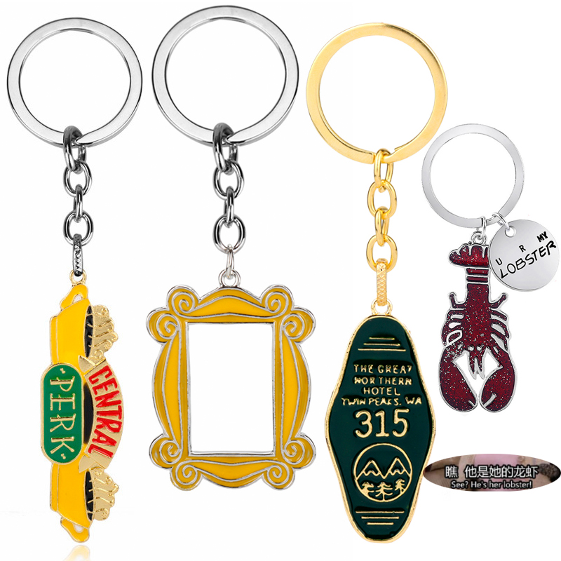 TV Friends Central Park Logo Photo Frame Monica's Double Side Door Keychain Women Men You're My Lobster Key Ring Holder Gifts