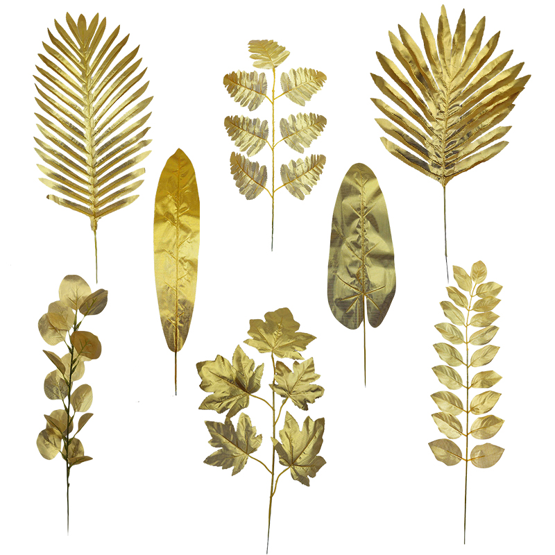 5pcs Artificial Gold Palm Leaves Monstera Tropical Silk Leaf Fake Plants For Home Garden Wedding Birthday Party Decor Supplies