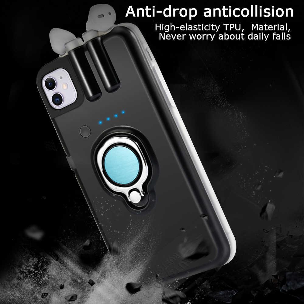 สำหรับ iPhone 11 11 Pro 11 PRO MAX XS MAX XR X 8 7 6 6 S PLUS Finger ผู้ถือแหวนสำหรับ Airpods กรณี Dropshipping