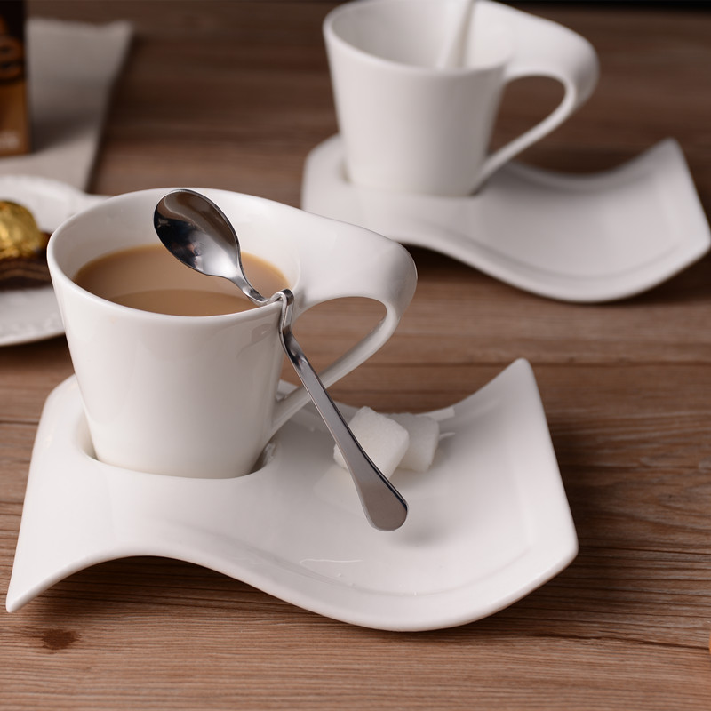 Creative Wavy Ceramic Fancy Coffee Cup And Saucer Set European Small Luxury Couple 90ml 130ml 200ml300ml Coffee Cup Coffee Cups Mugs Aliexpress