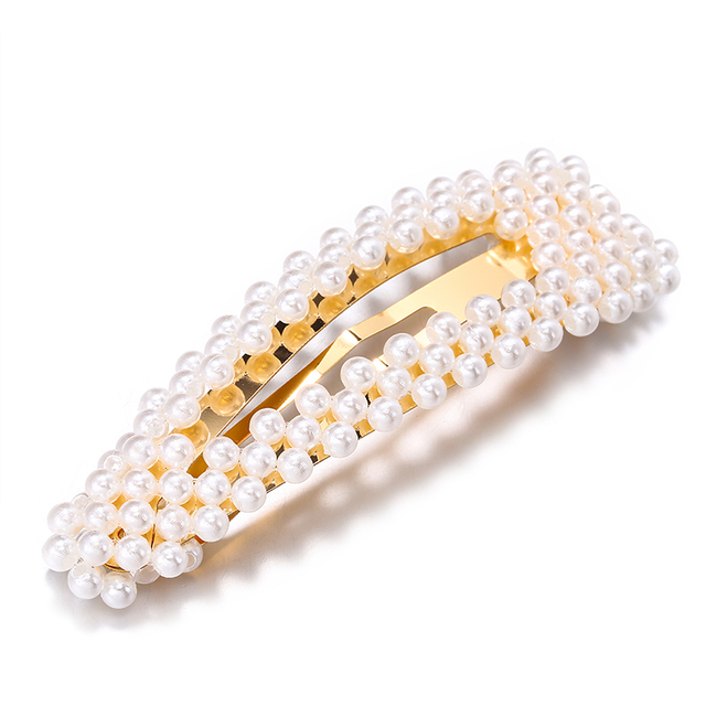 2019 New Fashion Pearl Hair Clip for Women Elegant Korean Design Snap Barrette Stick Hairpin Hair Styling Accessories Hair Pins 2
