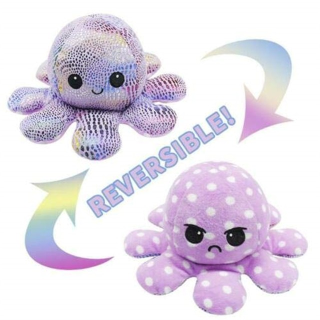 Flip Pulpo Plush Stuffed Toy Soft Ocean Animal Home Accessories Cute Doll Children Gifts Baby Reversible Poulpe Fidget Spinner