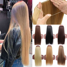 SHANGKE No Clips en extensiones de cabello lacio Invisible Ombre Bayalage sintético Natural Flip oculto Secret Wire Crown gris rosa