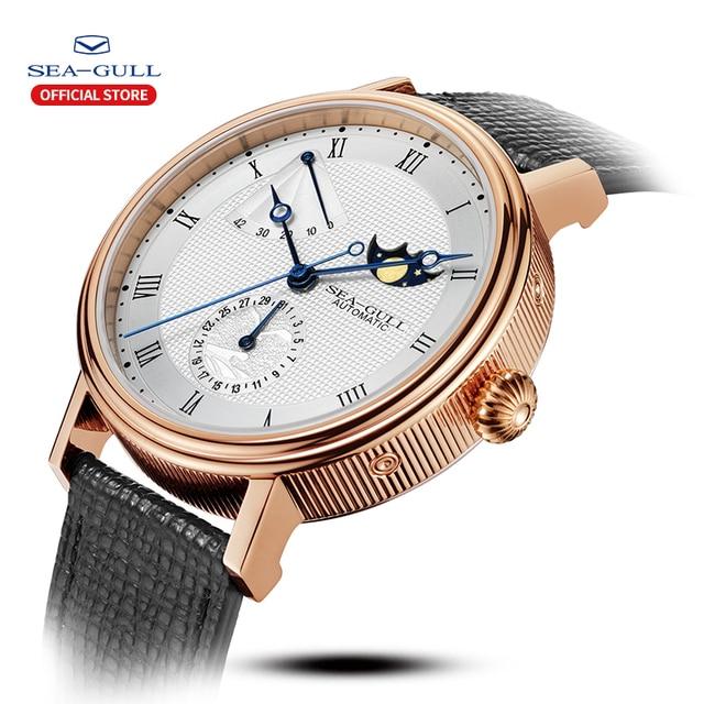 Seagull relógio automático masculino mecânico automático da fase da lua relógios dia data homem relógio 2019 designer 819.11.6092 1