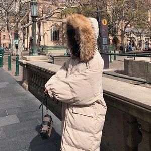 Image 2 - Długa kurtka zimowa kobiety Parka luźne ciepłe grube dół bawełna płaszcz kobiet wyściełane Oversize Student z kapturem kobieta kurtka zimowa Q2028