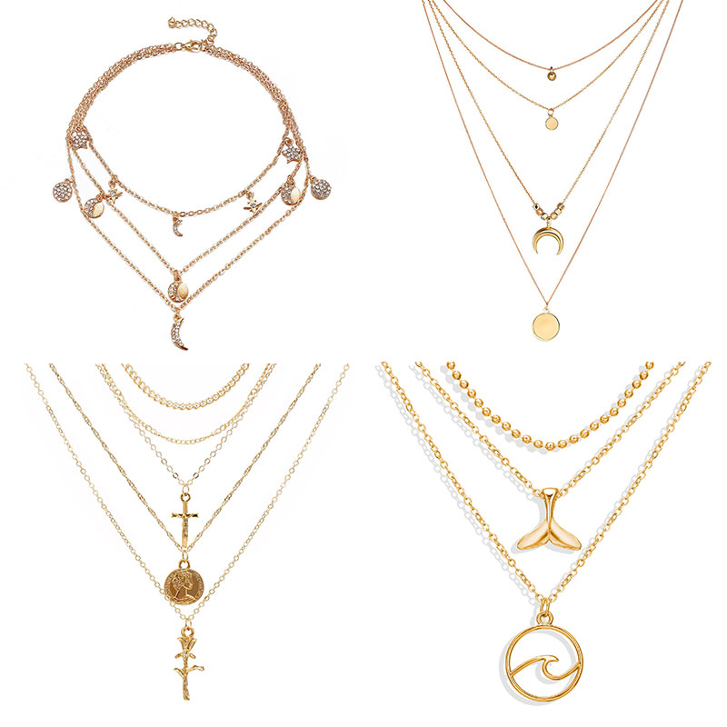 Multi-layer crystal moon necklace pendant stylish vintage charm gold necklace Bohemia multi-layer necklace 2019