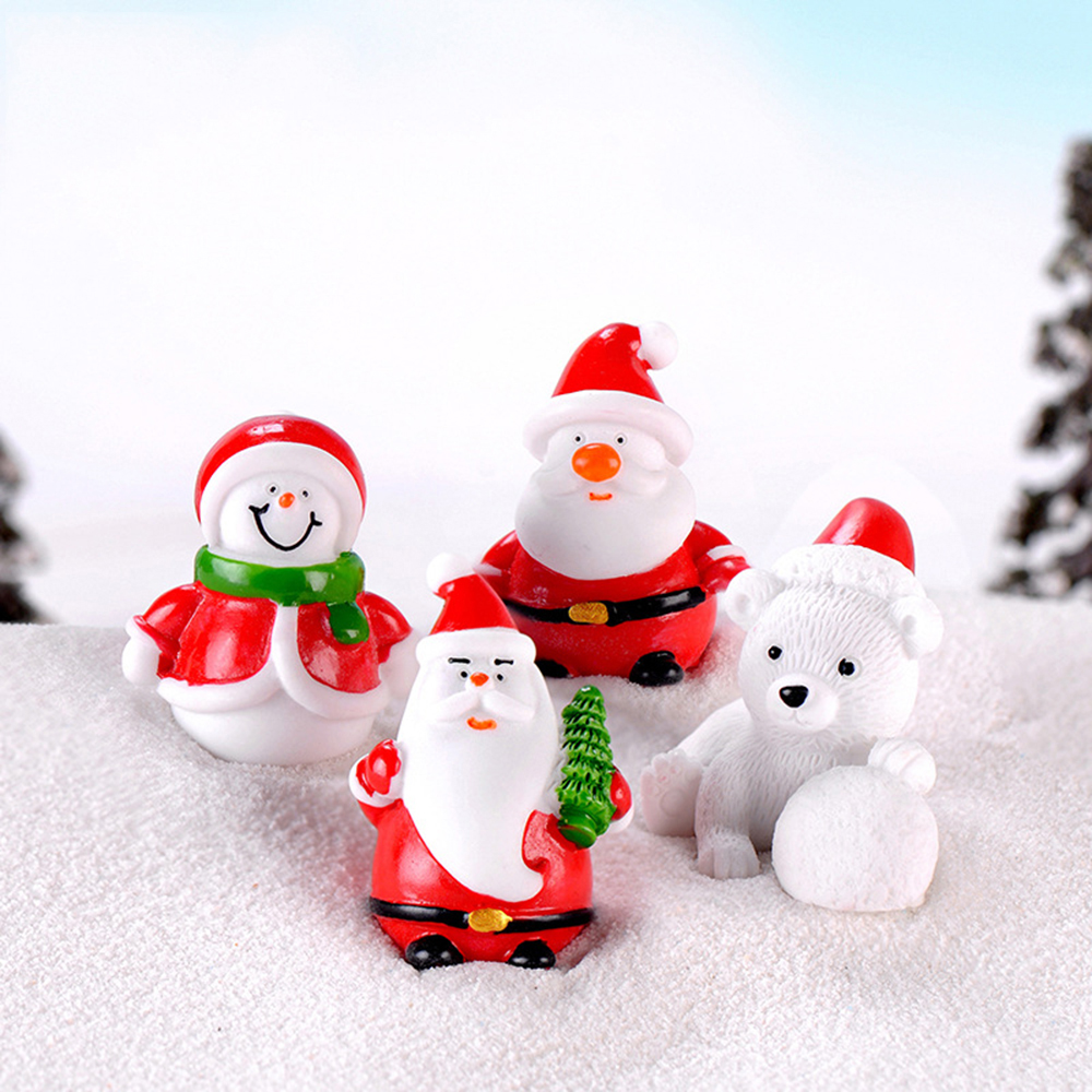 Christmas Red Snow Figurines Fairy Garden Miniatures Resin Craft Micro Landscap