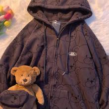 Camisola do vintage moda feminina outono inverno roupas com capuz coreano manga longa zip up hoodie mais veludo quente pulôver