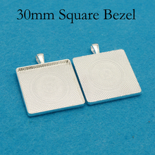 цена на 50 pcs - Silver Plated 30mm Square Pendant Tray, 30mm Square Setting, 30mm Square Bezel Setting, 30mm Square Cameo Setting Frame