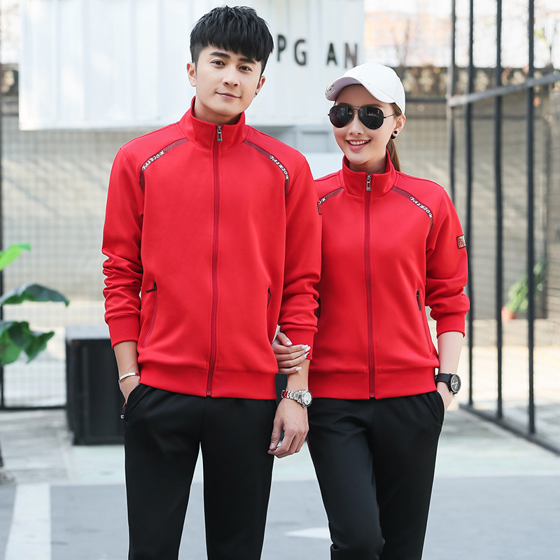 158 Sports Set Men And Women Spring And Autumn Running Fitness Long-sleeve Sportswear Trousers Couples Slim Fit Korean-style Hoo