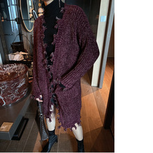 Korea Fashione Famale's Clothing Light Wire V Collar Knitting Cardigan For Woman 2019 Autumn Winter Long Loose Sweater YH643