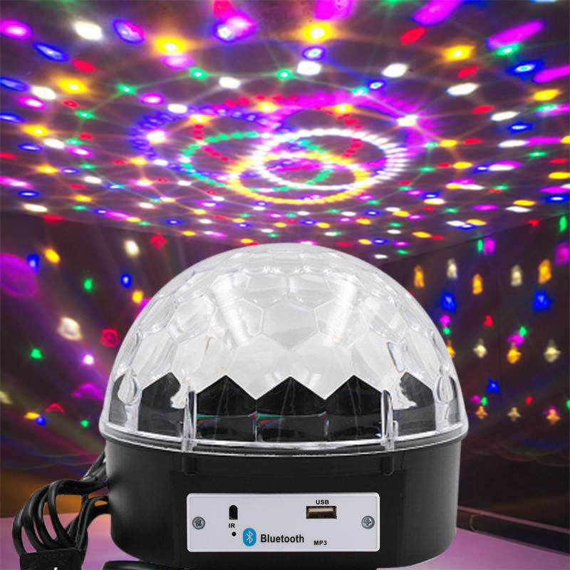 Crystal Magic Ball Light Bluetooth 4.0 Projector Voice Control Wedding Supplies LED Music Light Colorful MP3 Loudspeaker