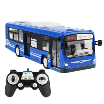Remote Control Bus City Express High Speed One Key Start Function Bus With Realistic Sound And Light Rc Car 6 Channel 2.4G Blue